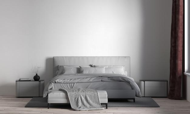 Het monimal gezellige slaapkamerinterieur en de witte muur