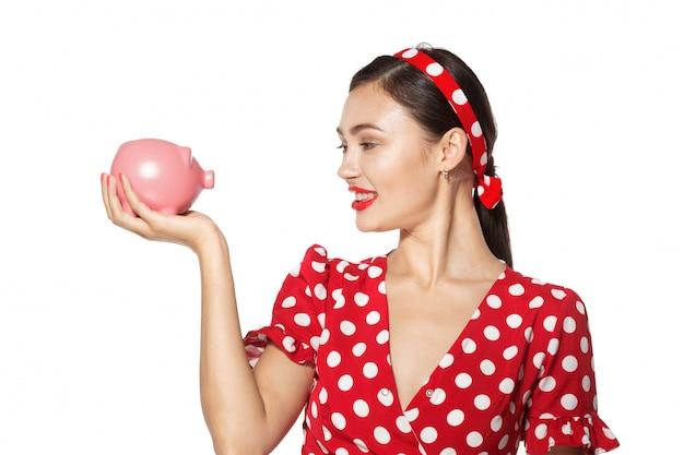Het mooie retro spaarvarken van de vrouwengreep