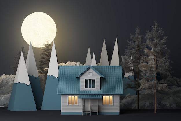Het mooie sneeuwlandschap van de kerstmiswinter in nachtthema met volle maan en bergen en het lage poly sparren 3d teruggeven