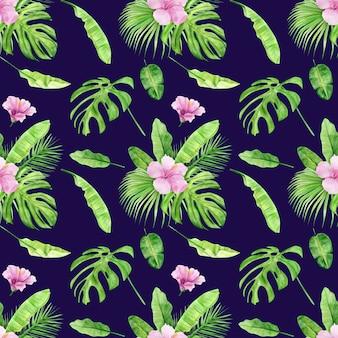 Het naadloze patroon van de waterverfillustratie van tropische bladeren en bloemhibiscus.