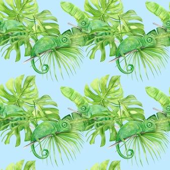 Het naadloze patroon van de waterverfillustratie van tropische bladeren en kameleon