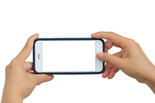 Het nemen van foto met mobiele telefoon op witte achtergrond