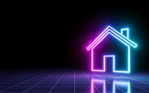 Het neonteken van het huispictogram met perspectiefraster. idee conceptontwerp. 3d-rendering