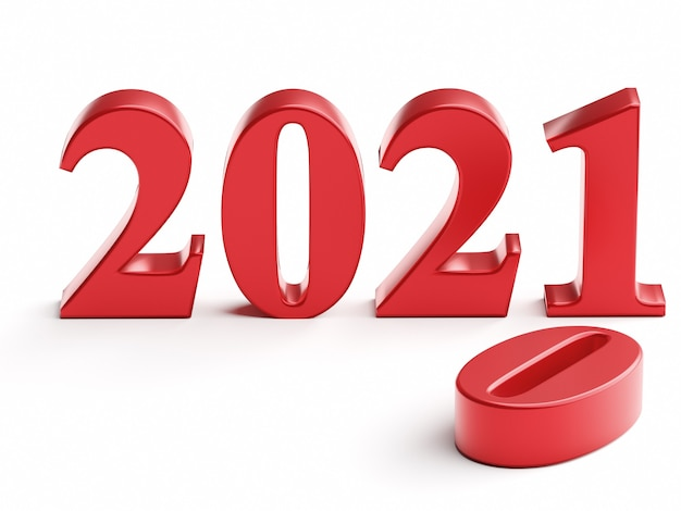 Het nieuwe jaar 2021 vervangt de oude 3d-weergave van 2020