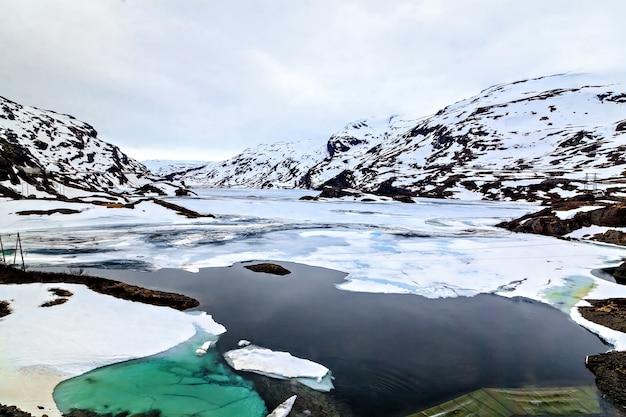 Het noorse landschap: ijzig meer en bergen