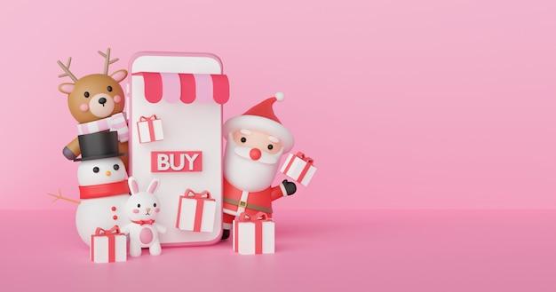 Het online winkelen van kerstmis met telefoon, de kerstman en vrienden het 3d teruggeven.