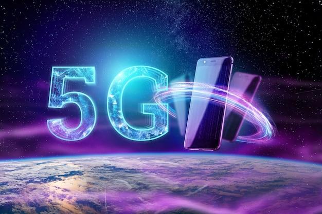 Het opschrift 5g op de achtergrond van de wereld