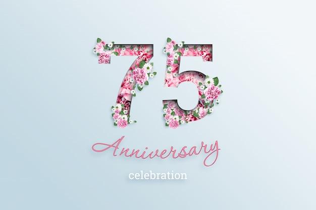Het opschrift 75 nummer en het jubileum tekst is bloemen, op een licht