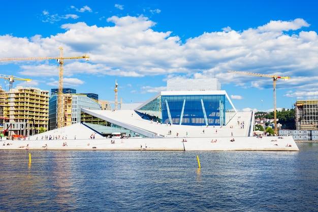 Het oslo opera house of operahuset is de thuisbasis van het noorse nationale opera en ballet theater, noorwegen.