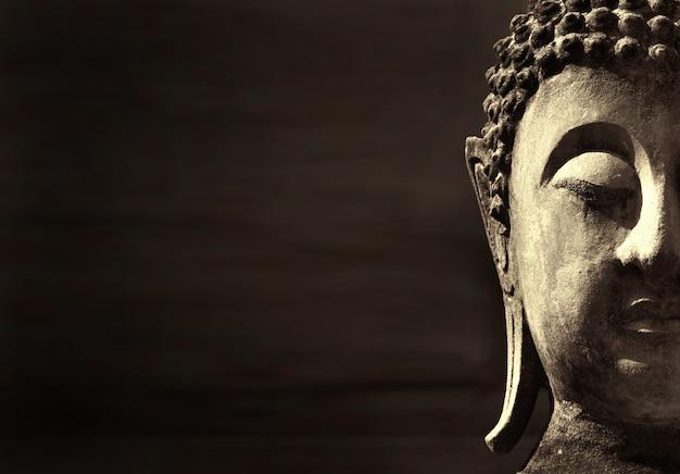 Het oude gezicht van boedha, ayutthaya, thailand. achtergrond met copyspace
