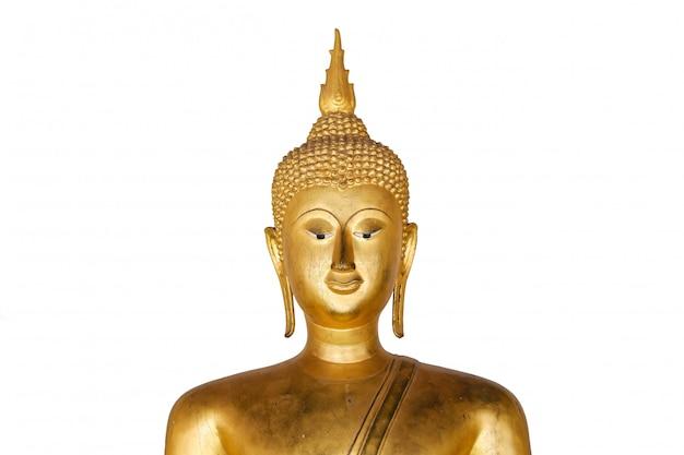 Het oude gouden geïsoleerde standbeeld van boedha