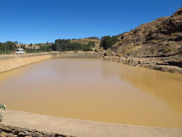 Het oude zwembad in de stad axum, ethiopië