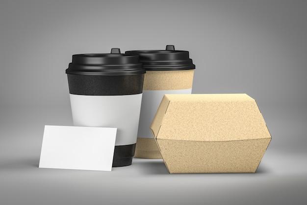 Het paar haalt koffiekop en 3d de doos van de snackburger weg terug
