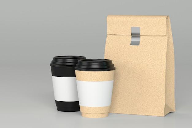 Het paar haalt koffiekop en 3d snackvoedselzak weg terug