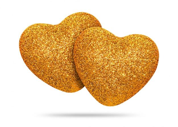 Het paar van gouden die hart met schittert textuur op witte achtergrond wordt geïsoleerd.