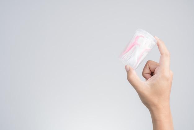 Het pak van de handholding van plastic tandenstoker van de tandzijde