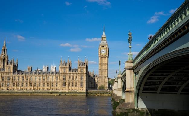 Het paleis van de big ben van westminster op zonnige dag, londen, engeland, het uk