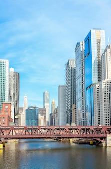 Het panorama van de binnenstad van chicago