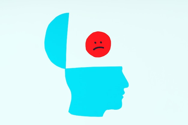 Het papieren profiel van het hoofd met een ietwat open bovenkant met een droevig smileygezicht. negatieve gedachten