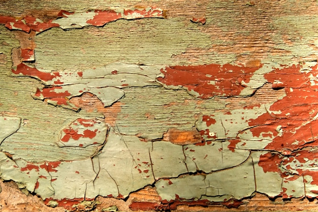 Het patroon van een oude houten muur met gepelde verf abstracte achtergrond.