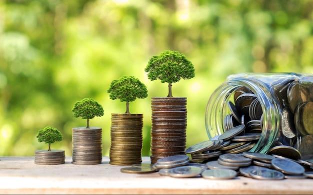 Het planten van bomen op munten naast flessen geld op aard