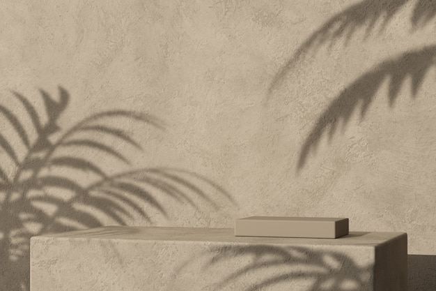 Het podium van doospleister en tropische palmschaduw, abstracte minimale mockupachtergrond voor productpresentatie. 3d-weergave