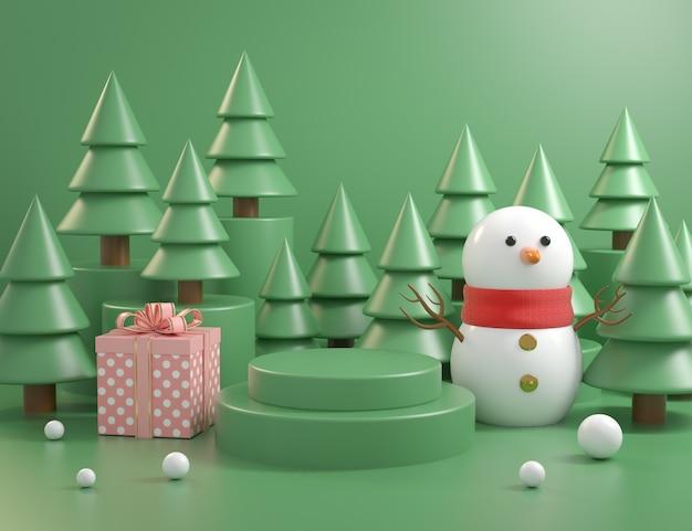 Het podiumconcept van het kerstmismodel met 3d kerstboomachtergrond geeft terug