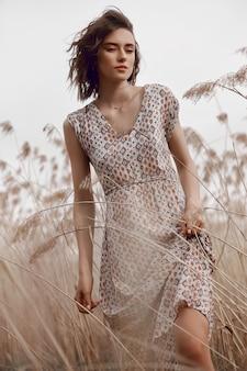 Het portret mooi meisje van de de herfstschoonheid op gebied in de zonsondergang van grasstralen. lifestyle
