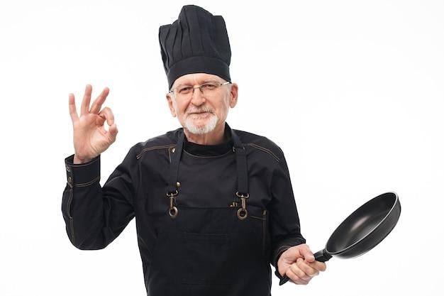 Het portret van de oude mensenchef-kok