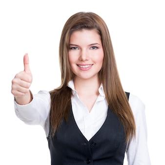 Het portret van een mooie jonge gelukkige vrouw met duimen ondertekent omhoog over witte achtergrond.