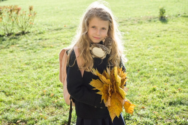 Het portret van weinig schoolmeisje met gele esdoorn verlaat schooltas