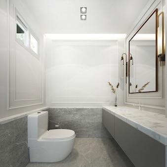 Het prachtige moderne huismodel en het interieurontwerp van de badkamer