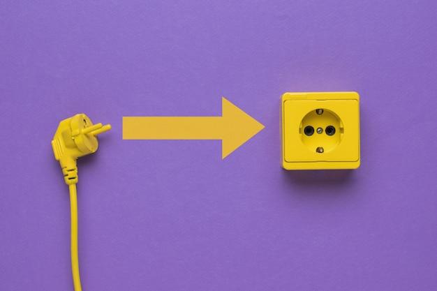 Het proces van het aansluiten van het netsnoer op een stopcontact.