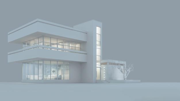 Het project van een modern huisje in witte materialen met nachtverlichting en licht van de ramen. 3d illustratie. 3d render. voorraad illustratie.
