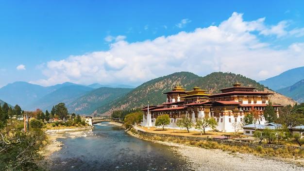 Het punakha dzong-klooster in bhutan azië één van het grootste klooster in azië