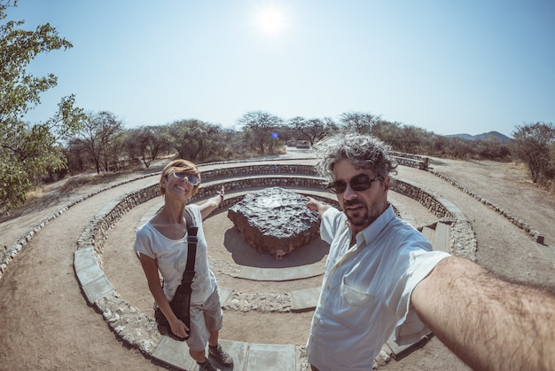 Het punt van de de meteorietmening van hoba, namibië, afrika.