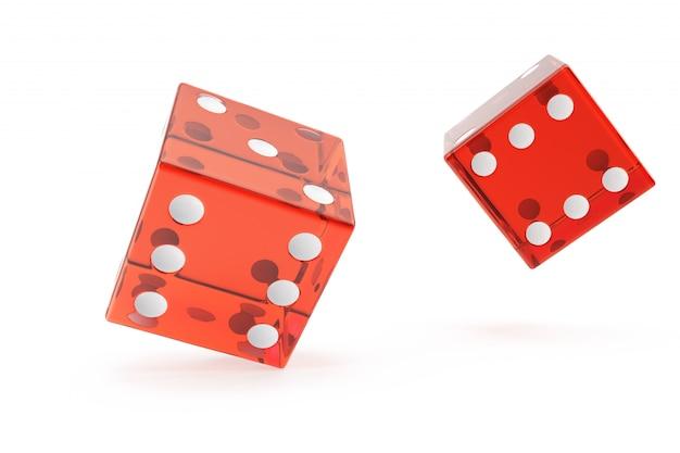 Het rode casino dobbelt, concept het gokken, bij het witte, 3d teruggeven