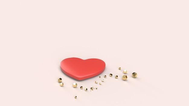 Het rode hart 3d teruggeven voor valentijnskaartendag.
