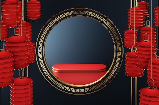 Het rode platform in het midden van de cirkelframe gouden chinese stijl, donkerblauwe achtergrond en rode lantaarns die rondhangen.abstracte achtergrond voor productpresentatie of advertenties. 3d-rendering