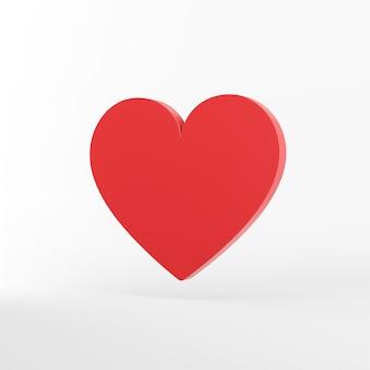 Het rode platte hart pictogram. 3d-weergave.