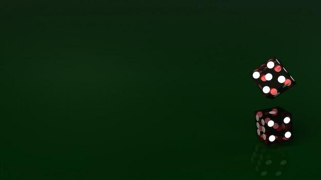 Het rood dobbelt op groen 3d teruggevend dicht omhooggaand beeld.