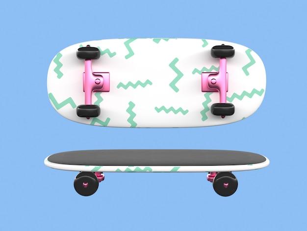 Het roze witte groene 3d beeldverhaalskateboard geeft terug