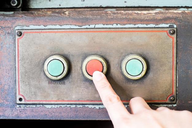 Het rustieke controlebord van de vingerpers van oude machine, grunge voorwerp