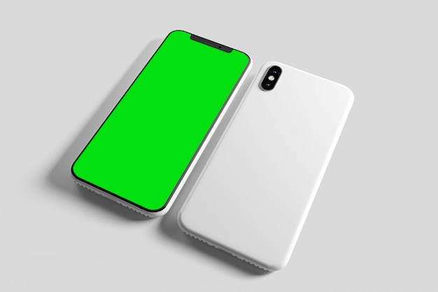 Het scherm van smartphone en gevallenmodel - het 3d teruggeven