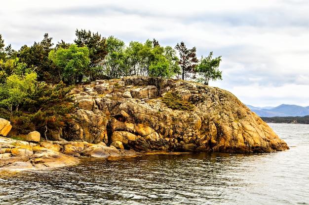 Het schilderachtige landschap: rotsen, bomen en zee