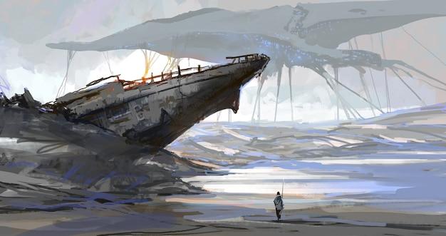 Het schip dat was gestrand door de droge zee, het aardetafereel nadat de aliens waren binnengevallen, digitale illustratie.