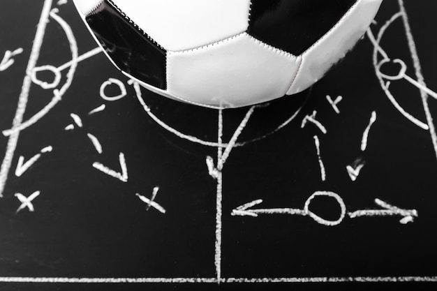 Het schoolbord van het voetbalplan met vormingstactiek