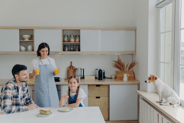 Het schot van gelukkige moeder, dochter en vader stelt samen bij keuken, drinkt vers sap en eet hamburgers