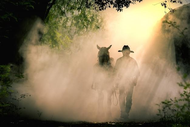 Het silhouet van de cowboy en het paard in de ochtendzonsopgang