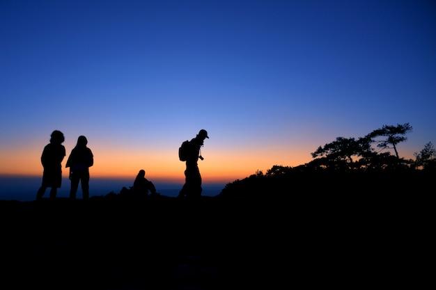 Het silhouet van de toerist in de bergen